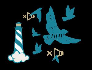 Illustrierter Vogel mit der Aufschrift: Say yes to new adventure. Sowie ein illustrierter Leuchtturm auf einer Wolke und mehrere Stummschaltungs-Symbole.